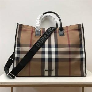 burberry英国官方网站巴宝莉正品格纹棉质帆布托特包80418941