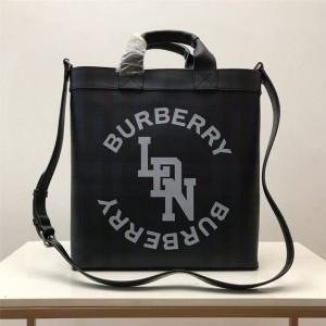 burberry香港官网巴宝莉代购正品London 格纹徽标图案托特包80225191