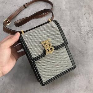 burberry包包价格巴宝莉官网棉质帆布拼双色皮革洛宾包手机包80318591