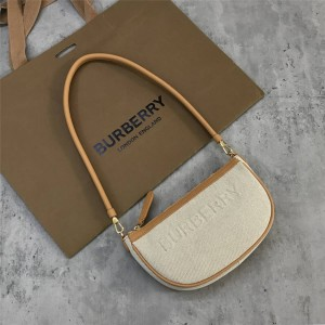 burberry法国官网巴宝莉代购Olympia 徽标压花帆布拼皮革埃伦匹亚收纳袋80388571