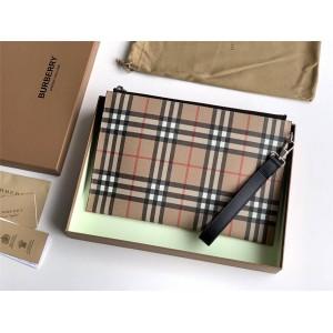 Burberry官网巴宝莉新款包包Vintage 格纹拉链收纳袋手拿包80166515