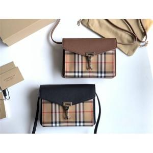 Burberry官网正品巴宝莉的包包House格纹拼皮革斜背包40799651