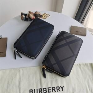 Burberry巴宝莉中国官网正品London格纹双层拉链男士手拿包