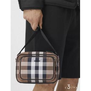 Burberry巴宝莉正品官网代购格纹棉质斜背包相机包80416761