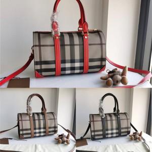 Burberry代购巴宝莉美国官网经典格纹格子波士顿枕头包