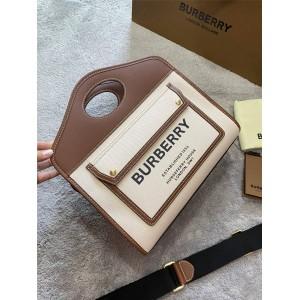Burberry官网正品巴宝莉包包小号双色帆布拼皮革口袋托特包80367841