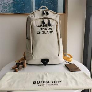 Burberry官网巴宝莉包包价格徽标印花棉质帆布拼尼龙双肩包80376541