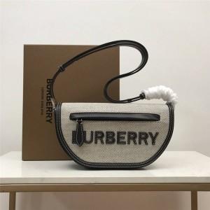 Burberry官网巴宝莉正品包包Olympia小号棉质帆布拼牛皮埃伦匹亚包80397791