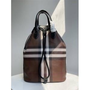 Burberry巴宝莉博柏利英国官网代购格纹环保帆布抽绳双肩包