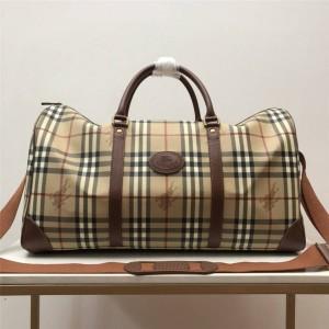 Burberry/巴宝莉官网正品博柏利包包新款中古格纹格子旅行袋行李包80111155