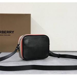 Burberry巴宝莉官网博柏利风格标志性条纹印花牛皮斜背包相机包80340101