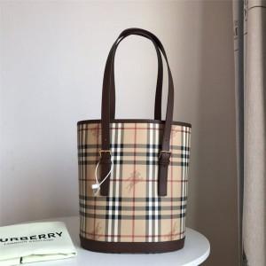 Burberry巴宝莉官网专柜上海博柏利新款中古系列战马格纹水桶包
