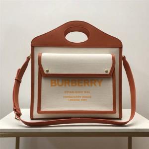 Burberry巴宝莉香港官网代购中号双色帆布拼皮革口袋包80317451