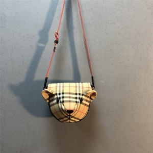 Burberry巴宝莉英国官网正品新款博柏利Vintage格纹小熊头儿童斜背包