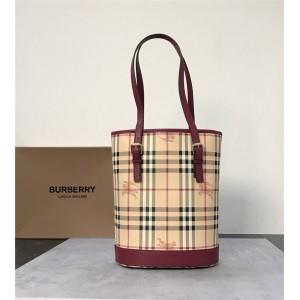 burberry包包巴宝莉官网代购博柏利中古系列战马格纹水桶包