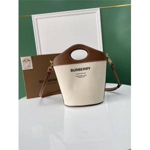 burberry价格巴宝莉官网正品博柏利小号双色帆布拼皮革口袋水桶包80462421